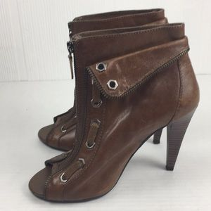 Gianni Bini Peep Toe Heeled Ankle Boots Leather 7